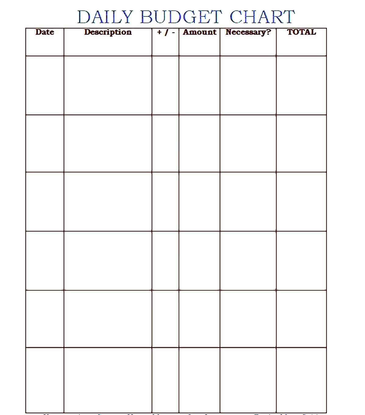 Daily Budget Template Printable
