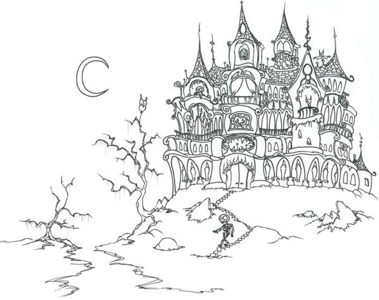 Hard Challenging Coloring Pages Of Haunted Castle For Adults
