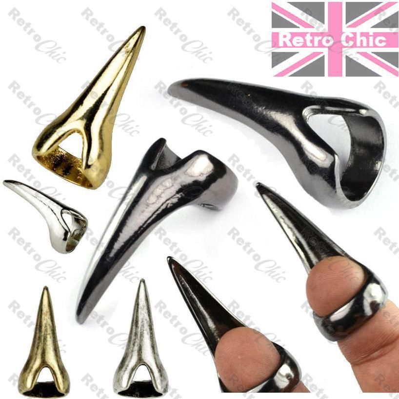 CLAW talon FINGER TIP RING long nails GOTH silver/gold/black PUNK CLAWS rock