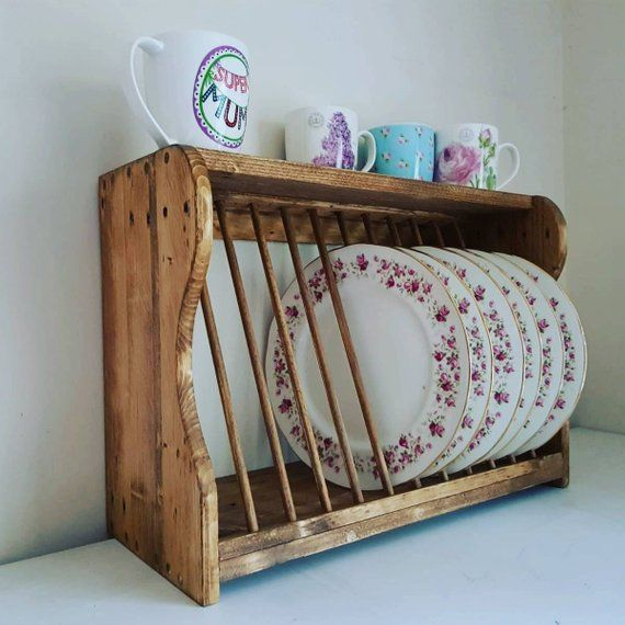 Plate rack, kitchen plate rack, plate storage, wooden plate rack #plateracks