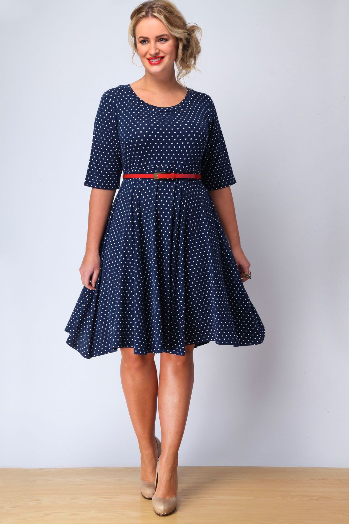 bb351a1956 Cute polkadot fit-and-flare dress from Yours.