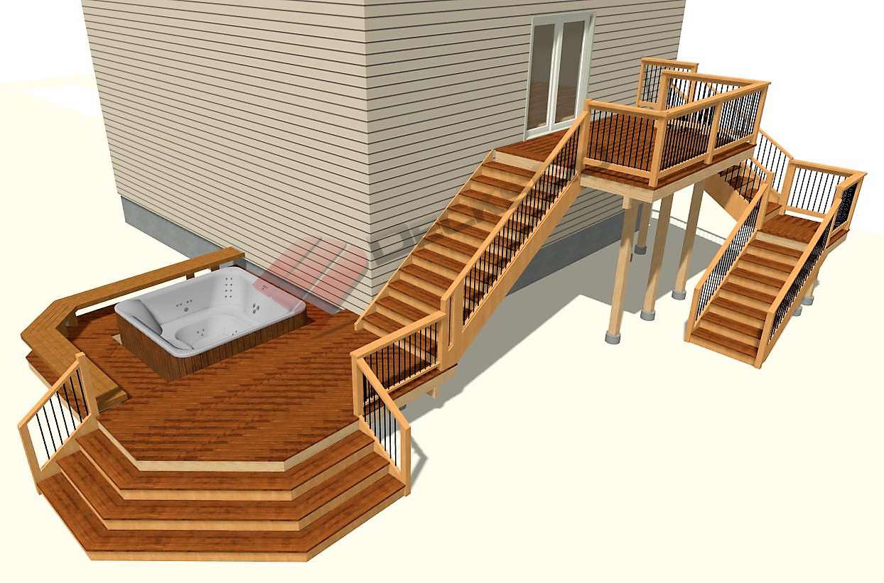 Do More With Your High Elevation Deck And Tie It Into Your Yard Find More Deck Plans Here Plans Decksgo Com Deckplan B Free Deck Plans High Deck Deck Plans