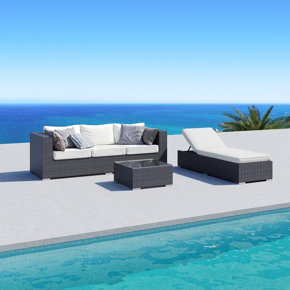 Buy Luxo Levisa 3pc PE Wicker Outdoor Sunbed Sofa Set w ... on Luxo Living Outdoor id=95049