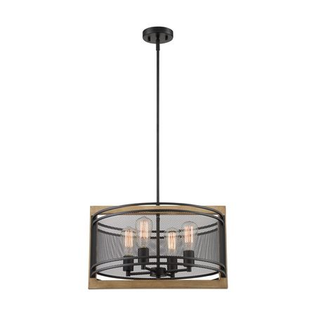 Nuvo 60/7264 Fixure, Pendant, 4-Light, Incandescent, 60W, 120V, A19, M
