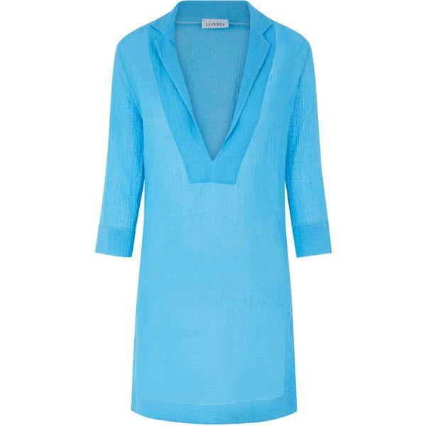 La Perla Free Spirit Chemise Dress in Seersucker Cotton ($455) ❤ liked on Polyvore featuring dresses, chemise dress, cotton chemise, plunge dress, lightweight summer dresses and v-neck dresses