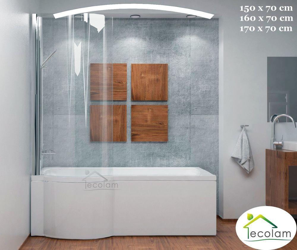Details zu Set Badewanne Badewannenabtrennung Dusche eckig