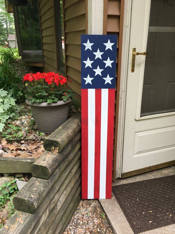 Wooden American Flag Porch Sign - Front Porch Decor Rustic ...