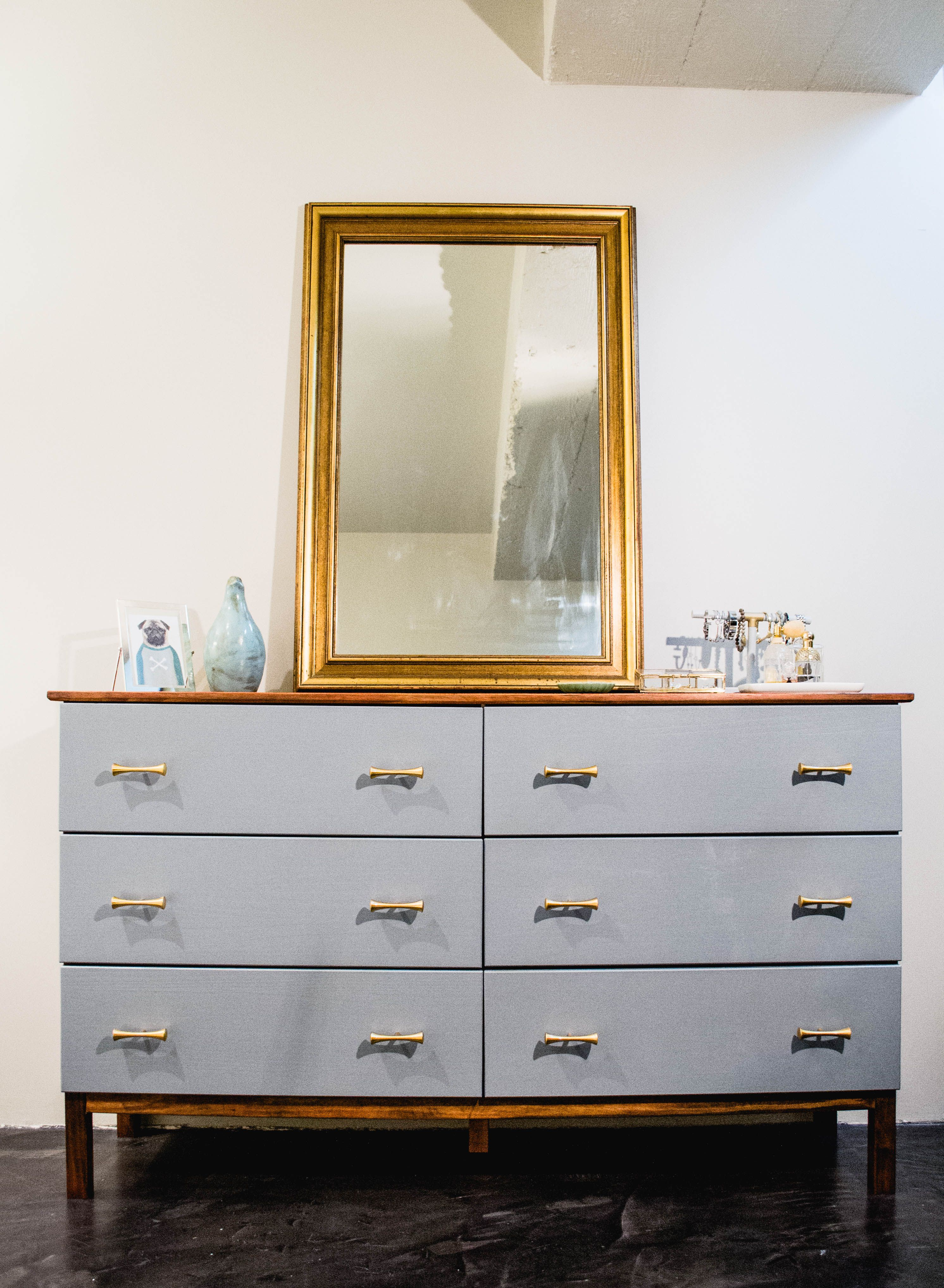 Dresser makeover ikea tarva 6 drawer gets a mid century look grey drawers with dark walnut body decorated with retro brass handles