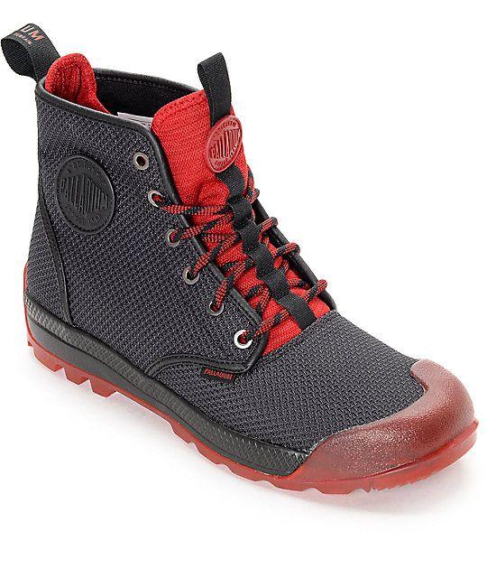 usa billig försäljning ganska trevligt snabb leverans Palladium Pampatech Hi TX Black & Red Boots | Red boots, Boots, Black