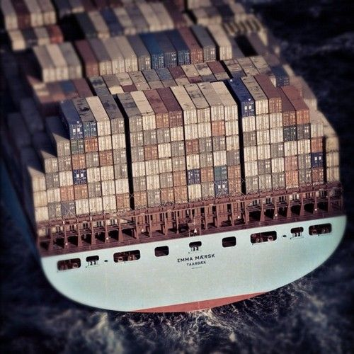 Shipping containers on the Emma Maersk, currently the largest
