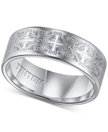 Triton Men S Tungsten Carbide Ring Comfort Fit Etched Cross