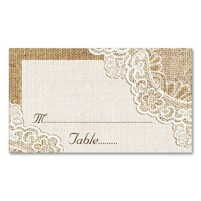 Rustic white lace on burlap wedding place card business card ...