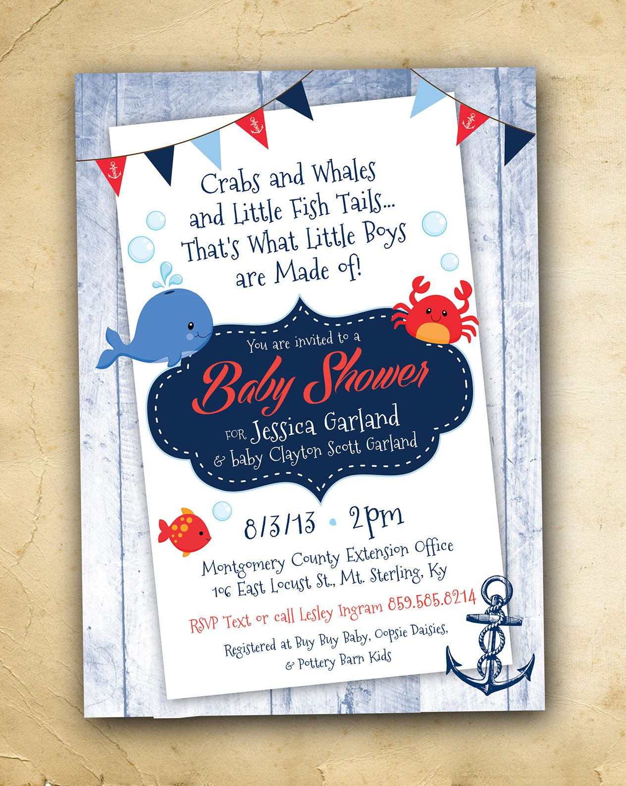 Nautical Theme Baby Boy Shower Invitation with Whale, Crab, Fish ...