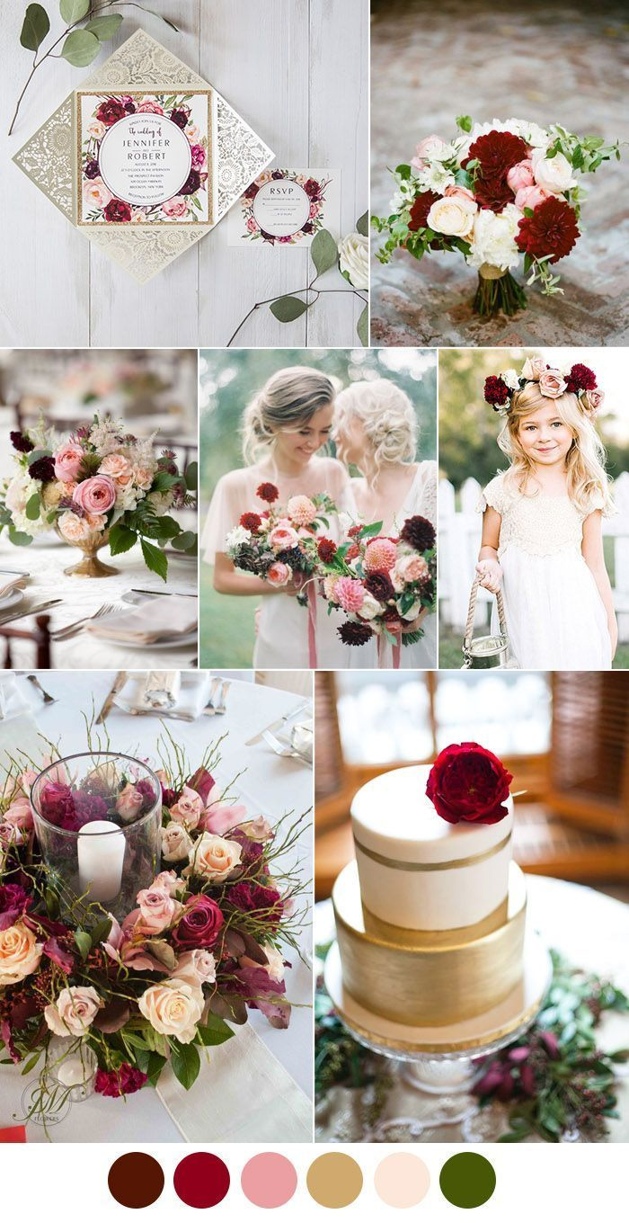 Burgundy Pink And Gold Vintage Wedding Ideas Pink And Burgundy Wedding Fall Wedding Colors Wedding Theme Colors