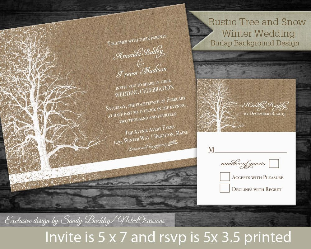 Winter Wedding Invitation Printable Template Rustic
