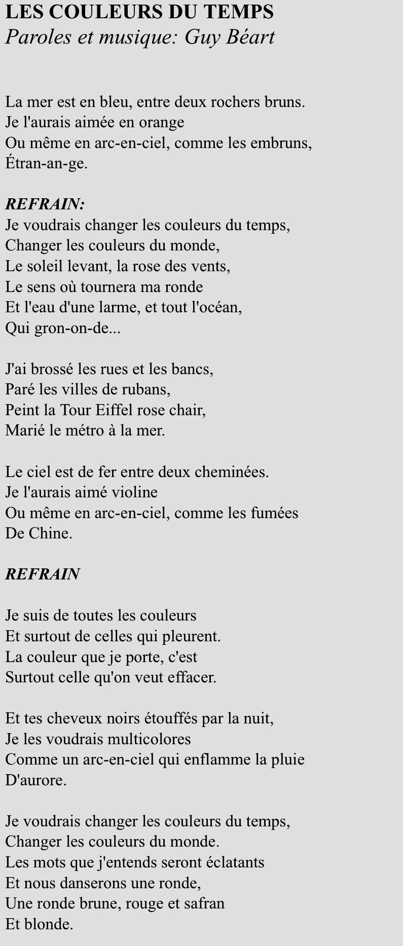 """Chanson """"les couleurs du temps"""", paroles et musique de Guy Béart."""