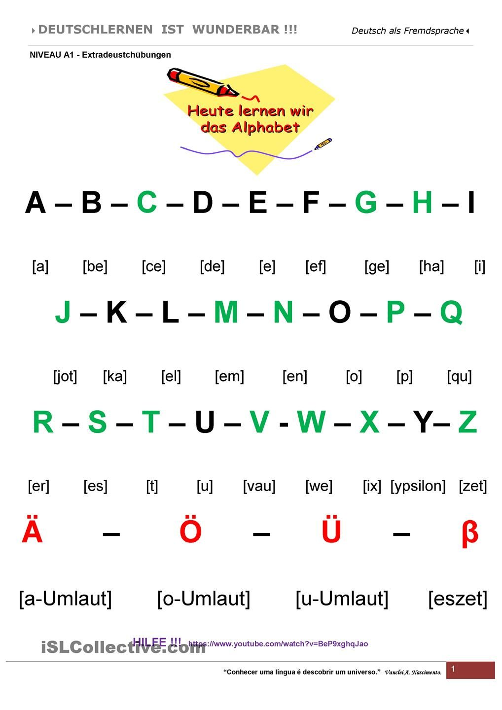 A1 - Das Alphabet | German resources, Learn german and Language