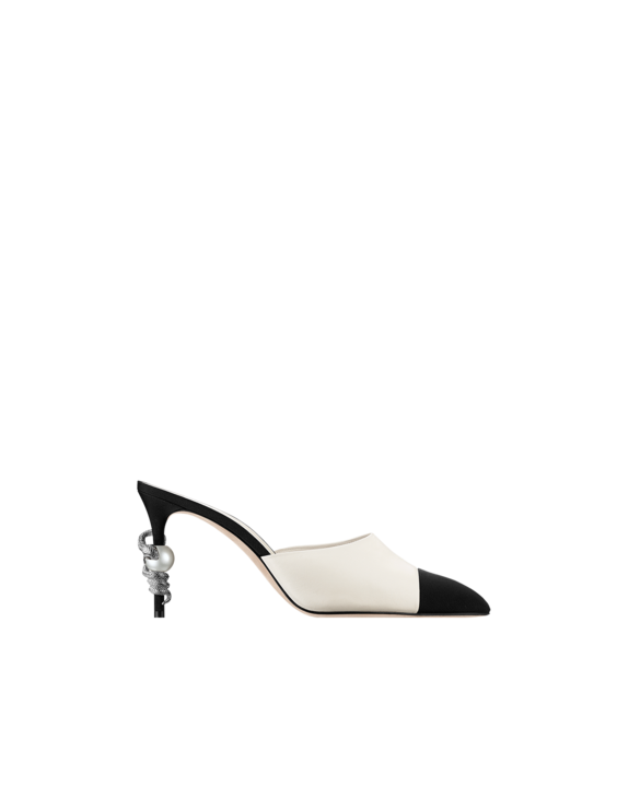6d90893f7e Chanel | leather and grosgrain | black and white | mule | snake | high heels  | womens shoes | designer | luxury | fashion | style | 2016 trend