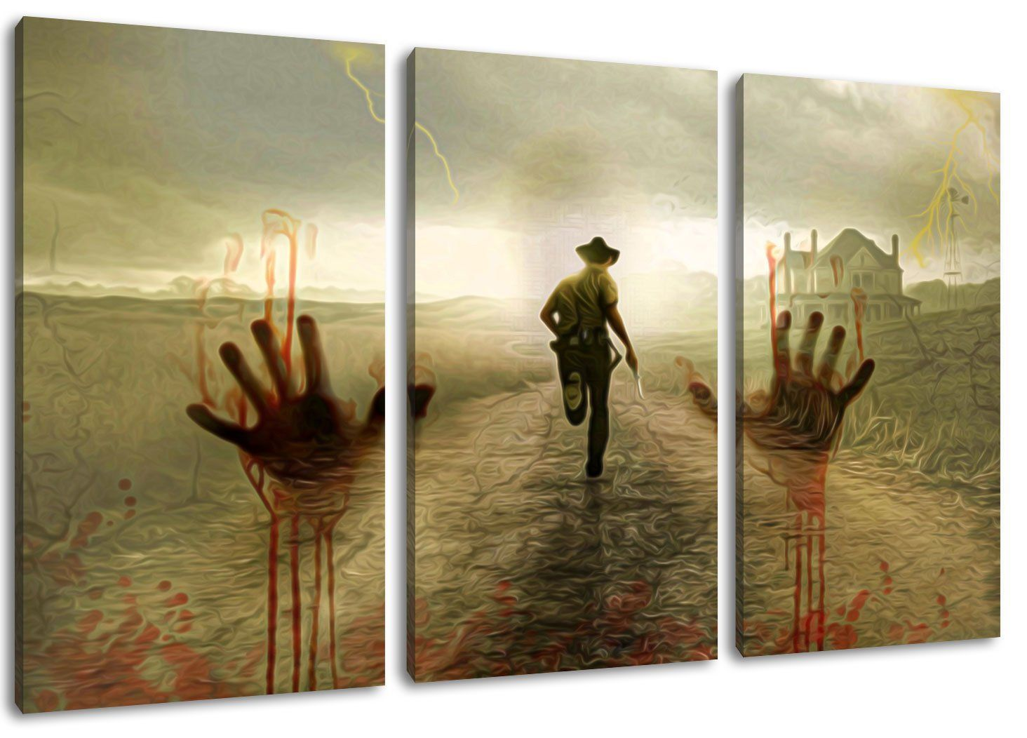 the walking dead motiv 3 teilig auf leinwand gesamtformat 120x80 cm hochwertiger kunstdruck. Black Bedroom Furniture Sets. Home Design Ideas