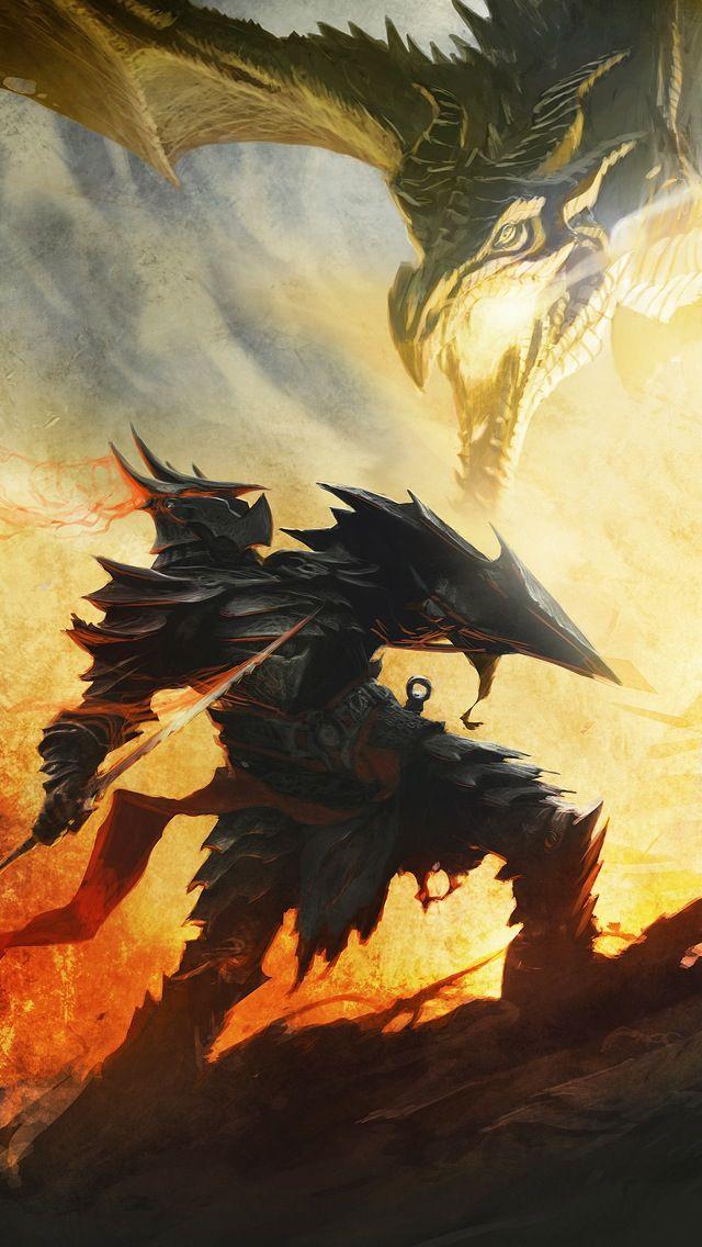 Dragon Born In Daedric Armor Fighting A