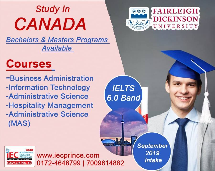 Study In Canada September 2019 Intake Ielts 6 0 Band Required Bachelors Hospitality Management Masters Programs Business Administration