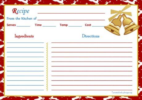 Reindeer Christmas Background Recipe Card 5x7 Recipe Cards - recipe card