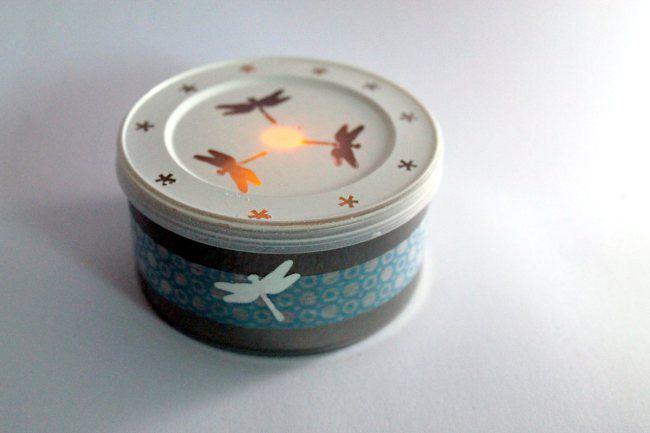 Libellenlicht aus Brotaufstrichsdose / Dragonfly light made of spread container / Upcycling