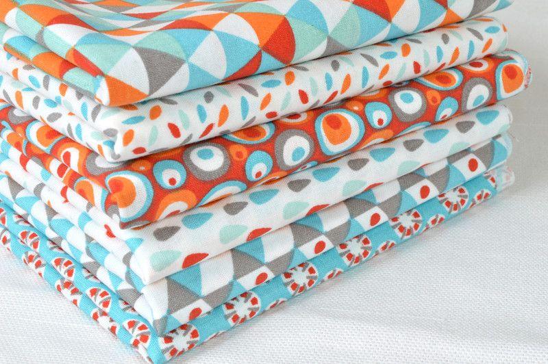 Lot de 6 coupons tissu 50 X50cm Turquoise / orange de La Mercerie de Clémentine sur DaWanda.com
