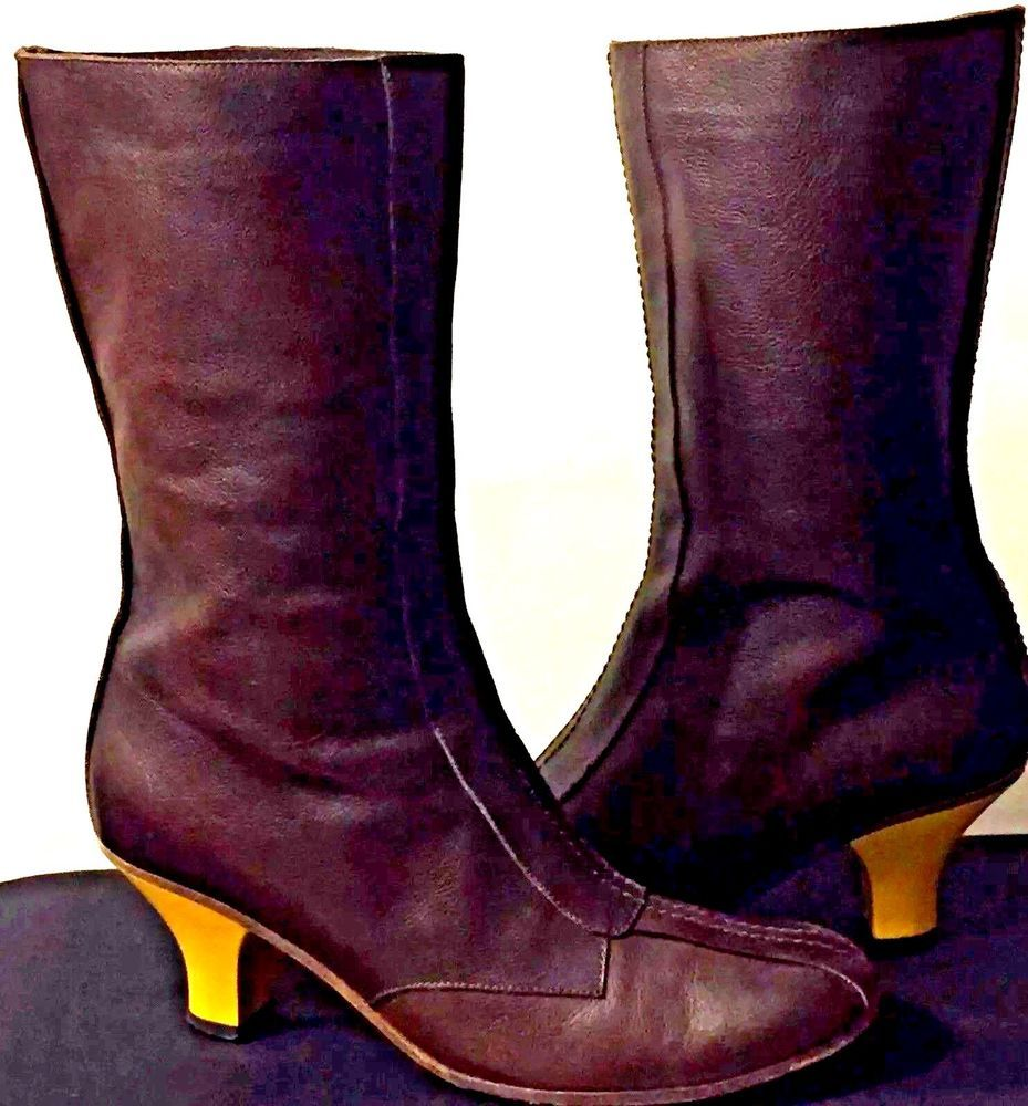 e1bf44e33bd8 MARNI Italian mid-calf brown leather BOOTS yellow acrylic heel EUR 38 1 2