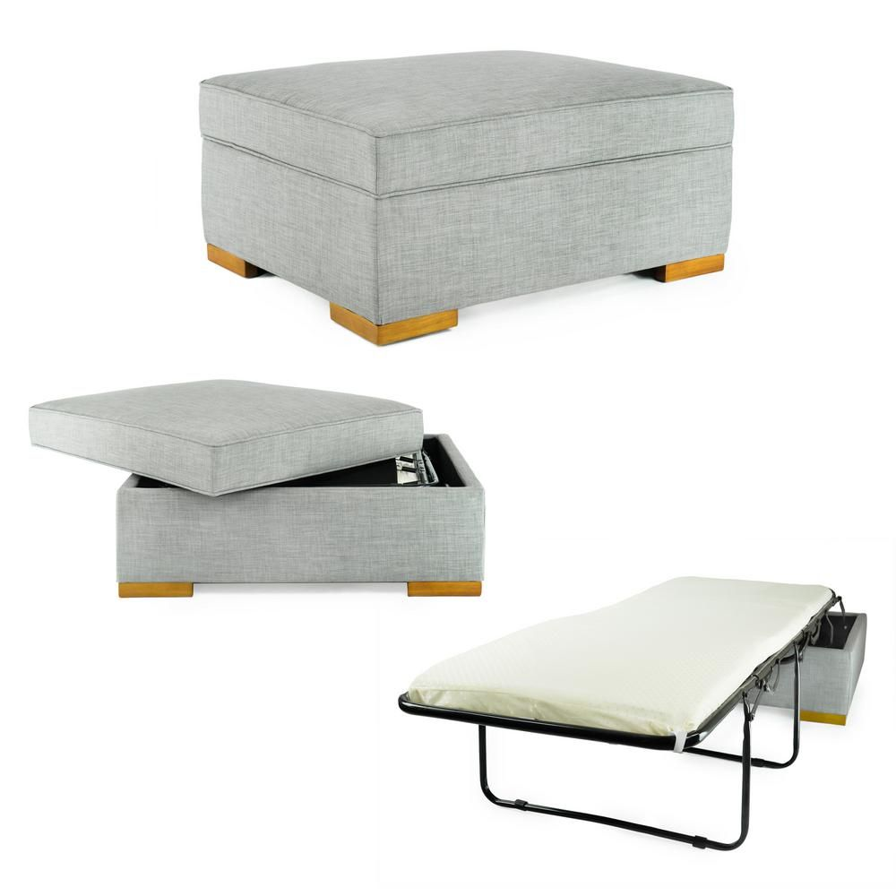Spacemaster Ibed Convertible Ottoman Guest Bed In Gray Fabric In