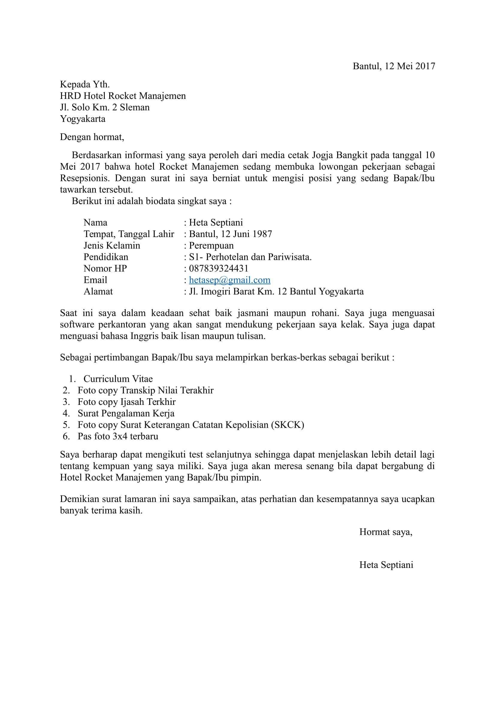 Contoh Resume Lamaran Kerja Yang Menarik Surat Bahasa Tulisan