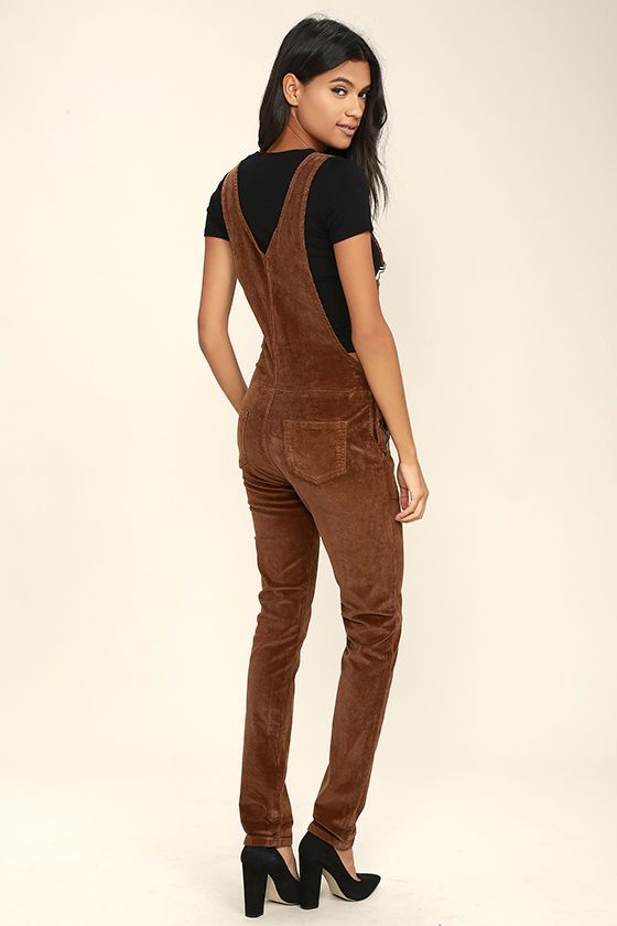 ec763d222b4 These classic corduroy overalls come with adjustable shoulder straps with  antiqued gold hardware that attach to the pocketed bib. High waistline ...