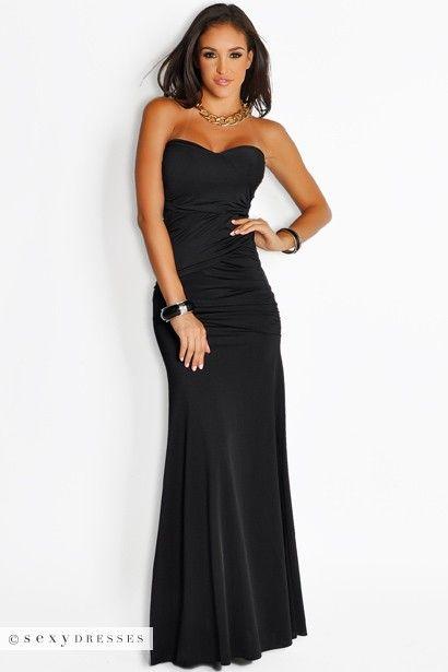 Black Strapless Dress Long - Artee Shirt