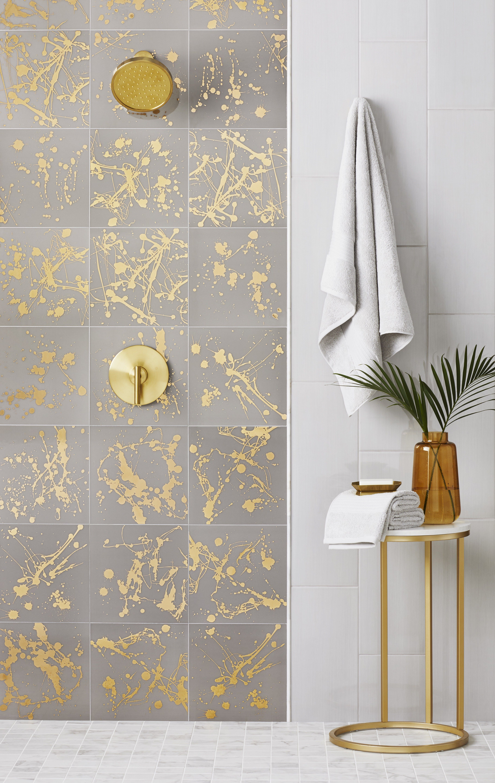Stunning Vibrance Meets Imaginative Movement Tile Displayed Ink Azulejo Artistico Argento Gold Showe Gold Tiles Bathroom Black And Gold Bathroom Gold Tile