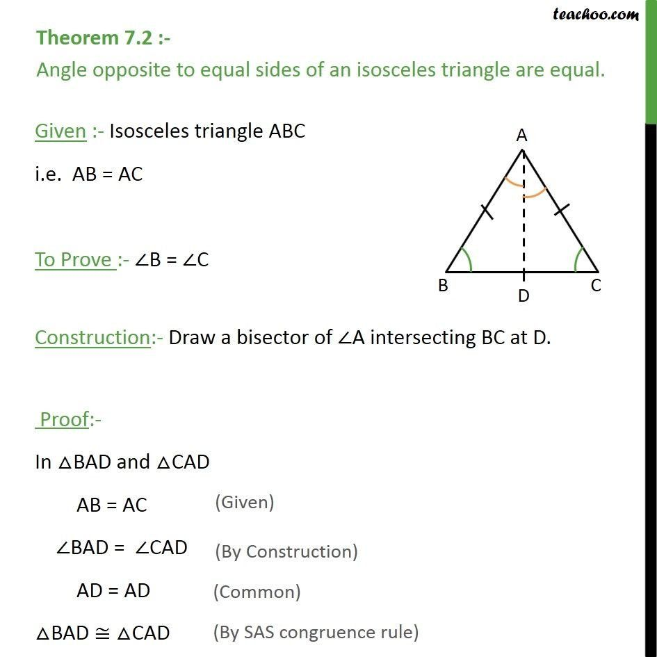 Triangle Congruence Proof Worksheet theorem 7 2 Angle Opposite to Equal  Sides Of A Triangle   Theorems [ 945 x 945 Pixel ]