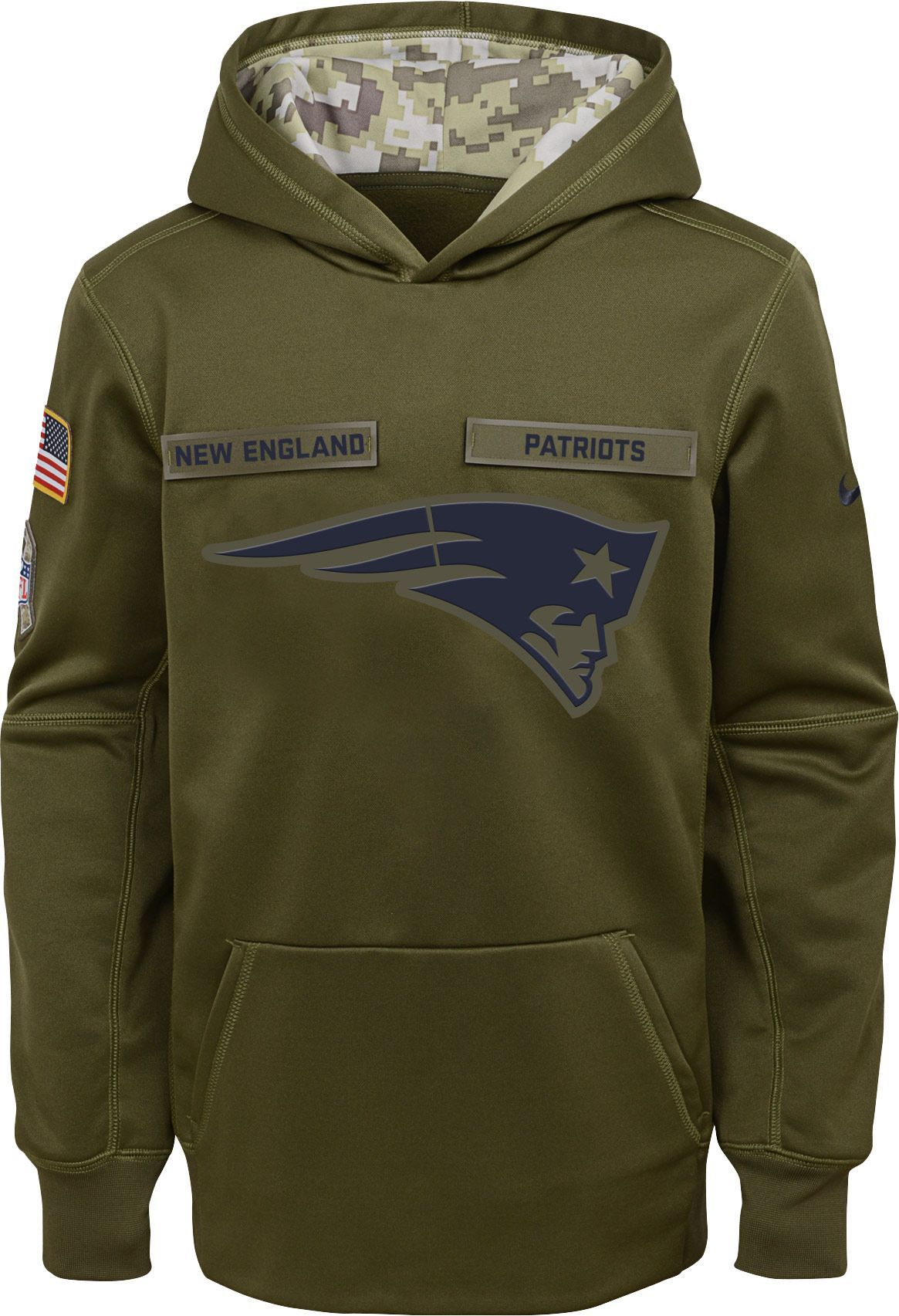 92efa63dd9aa Nike Youth Salute to Service New England Therma-FIT Olive Performance Hoodie