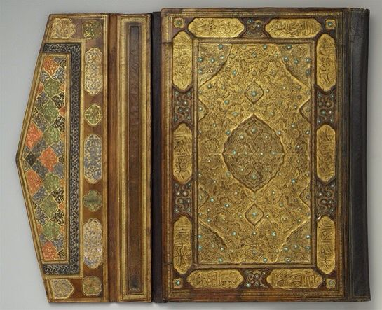 The Islamic Codex . A major advance in the history of the book . Islamic craftsmen, creating stylised and ornamental bindings . They used techniques - pasteboard rather than wooden covers .. highly elaborate decorative gold tooling and stamping. . ultimatehistoryproject.com