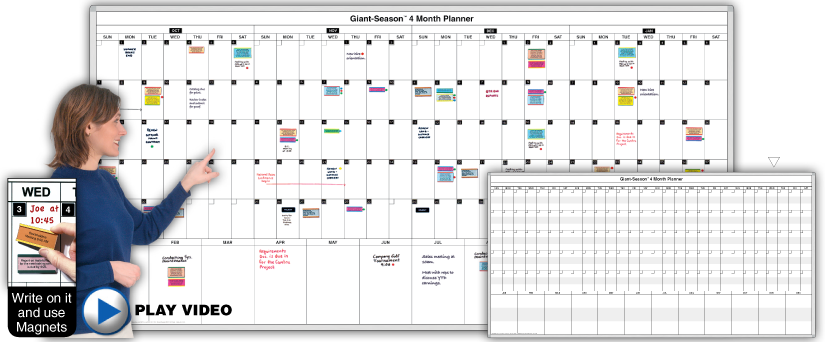 Giant-Season ™ 4-Month Daily Planning Calendar Magnetic