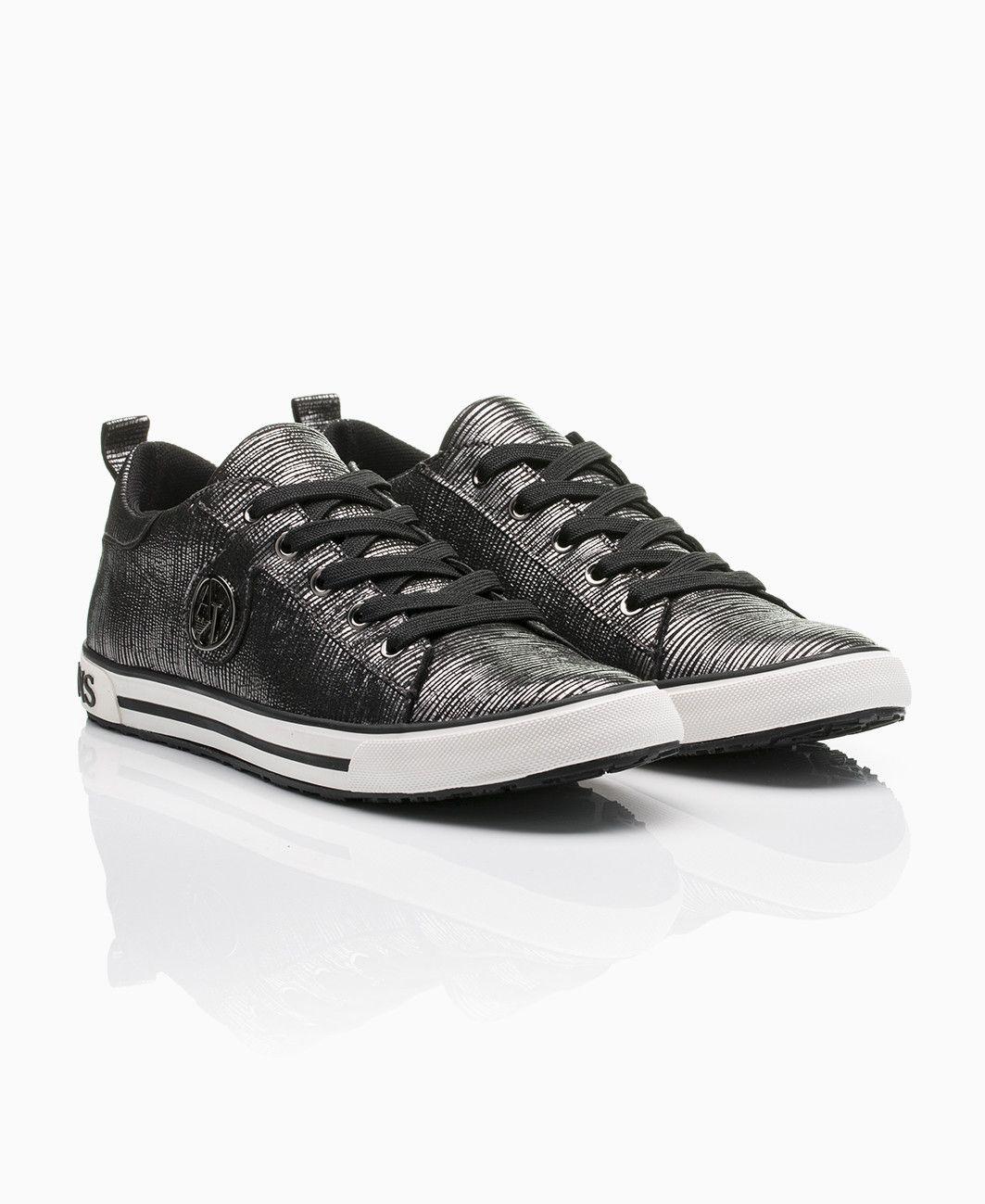 ec23e15d49 Armani Jeans - Glitter Suede Lo Trainers - Gunmetal - Shoes   Trainers -  Womens