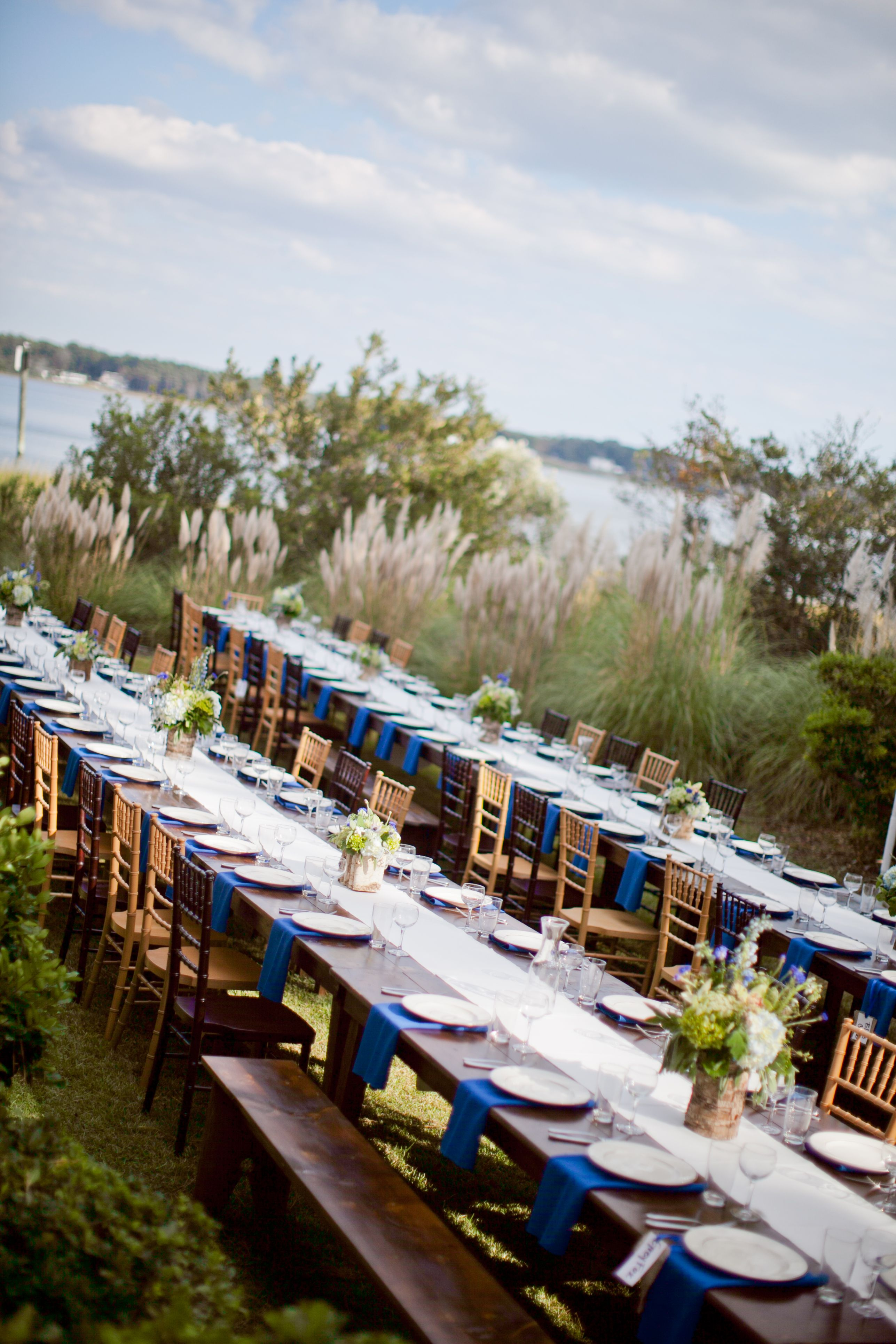 Long Farm tables for guest seating! Allison and Aaron
