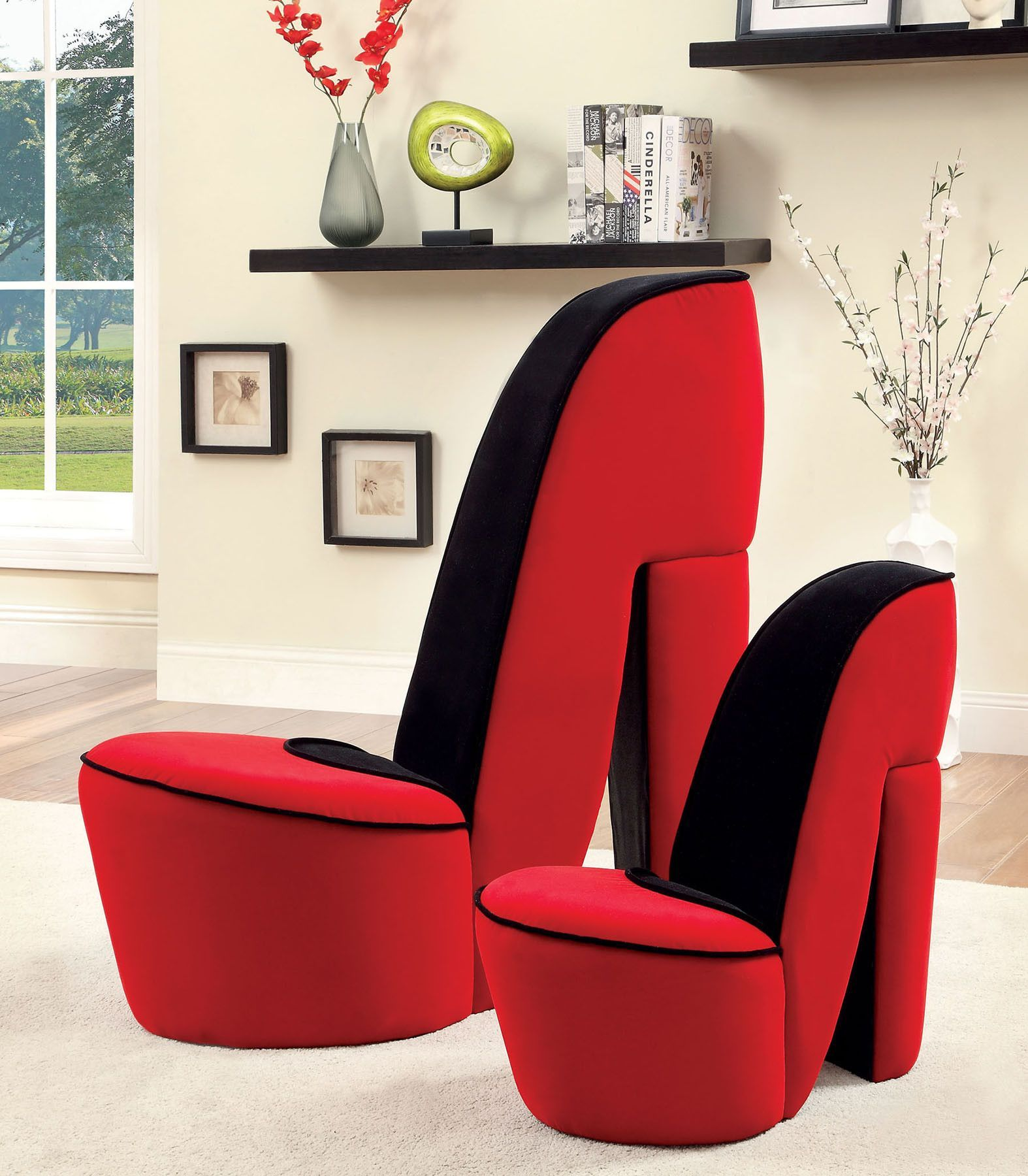 Red Heel Chair Giant Lawn Heely Accent Cm Ac6807 Confortable Chairs