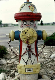Bicentennial fire hydrant painting