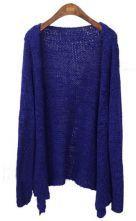 Royal Blue Long Sleeve Collarless Eyelet Open Knitted Cardigan 0.00