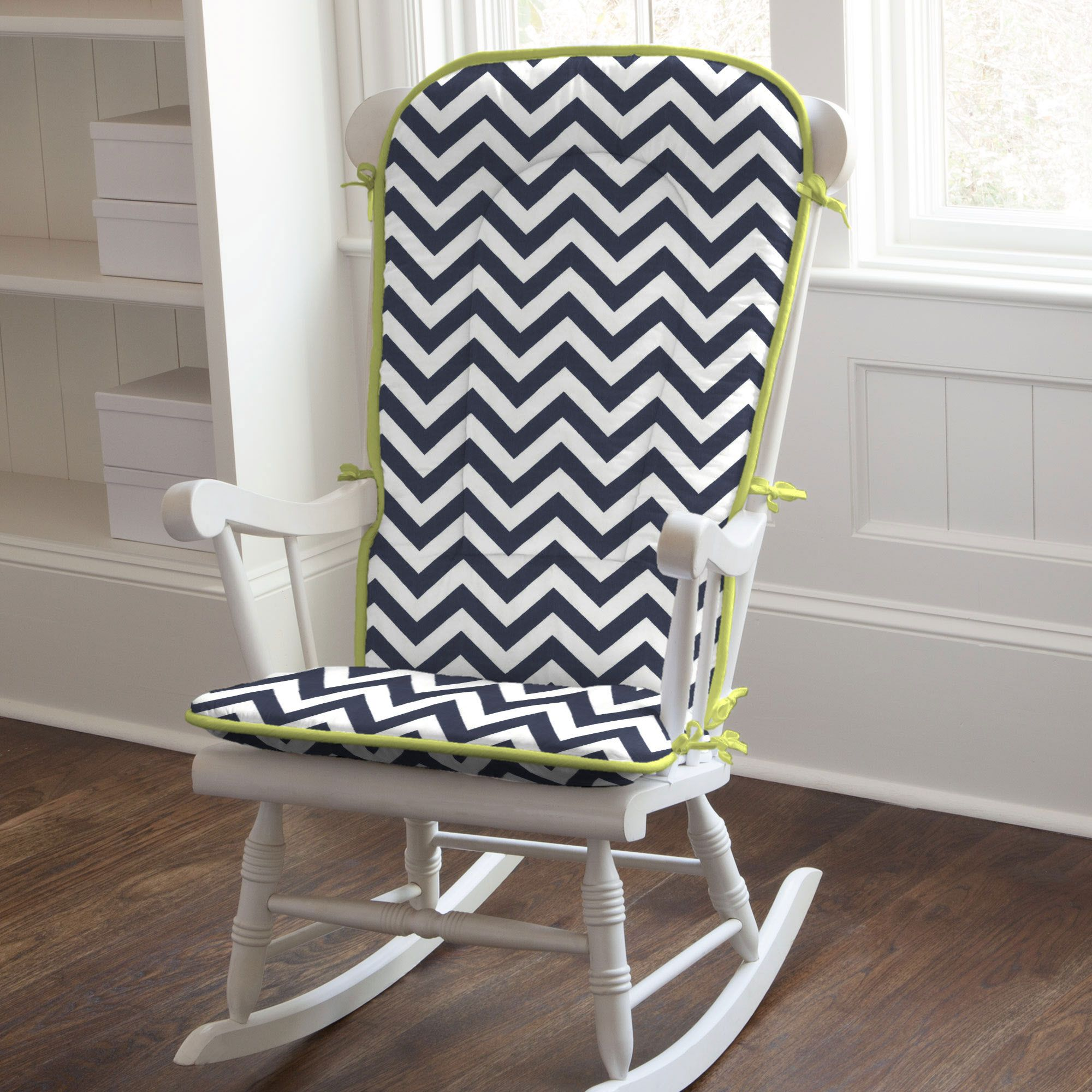 Navy and citron zig zag rocking chair pad rocking chair