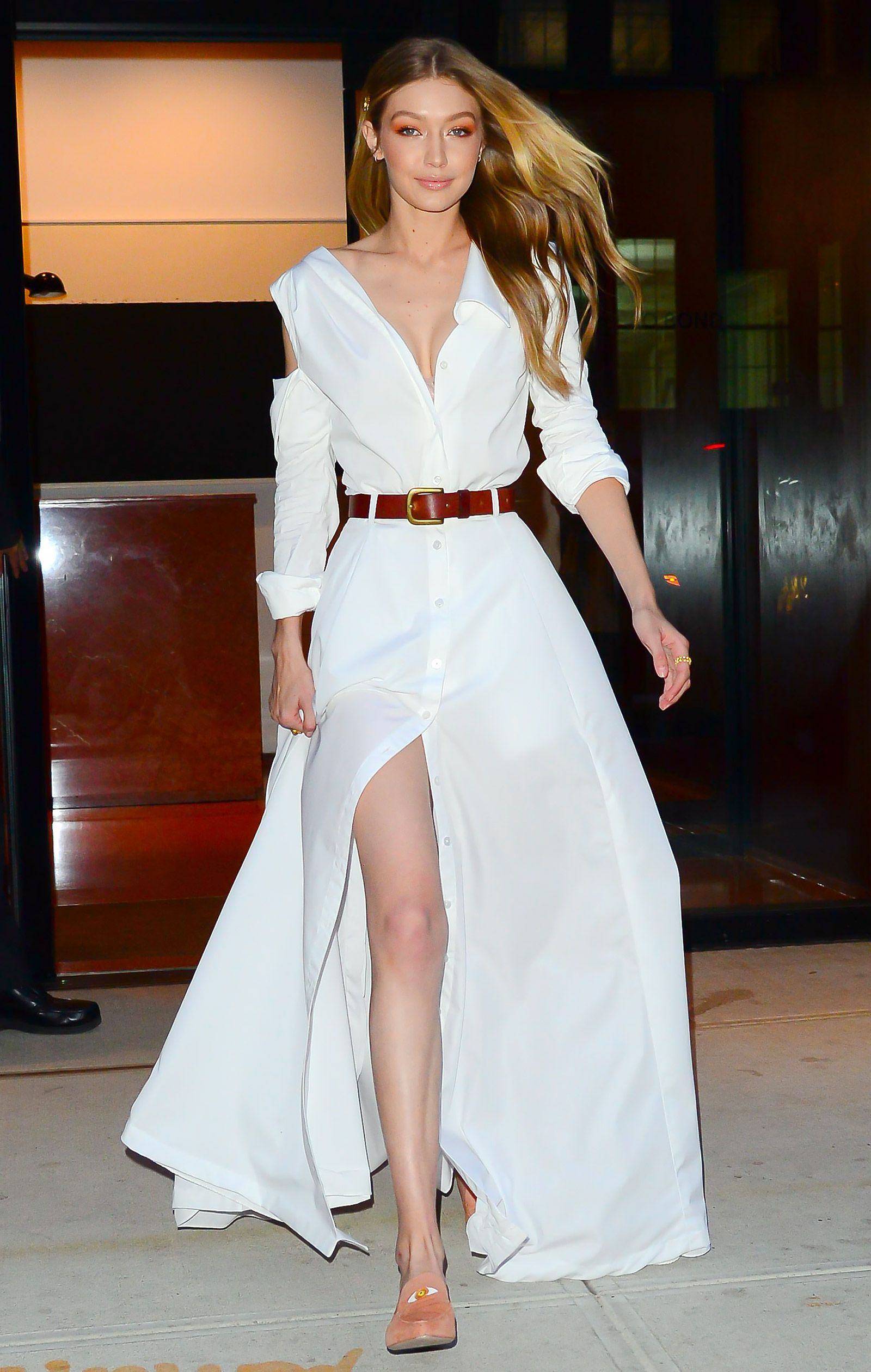Looking Angelic! Gigi Hadid Wears Two Floaty All White Outfits Ahead of Victorias Secret Fashion Show