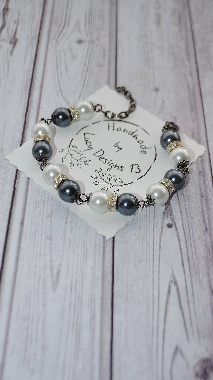 Bracelets for women gray white pearl bracelet black finish