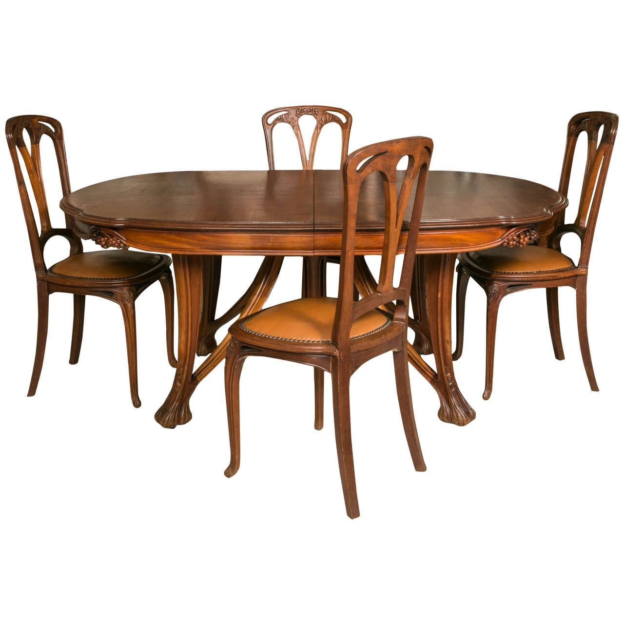 Art Nouveau Mahogany Table And 12 Chairs Decorated With Berries By