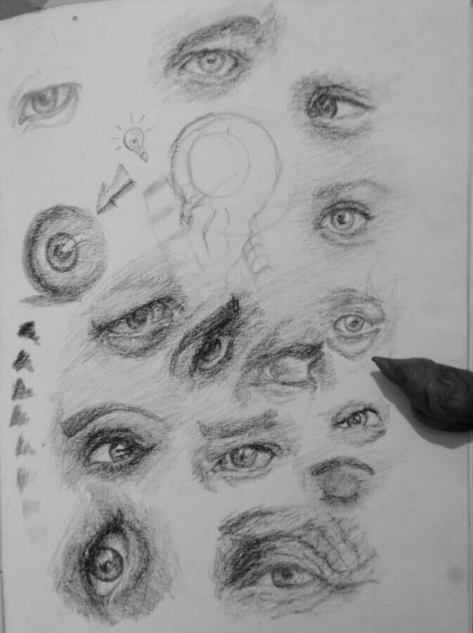 Drawing eyes. Charcoal. Art by murshad . | Sketches ...