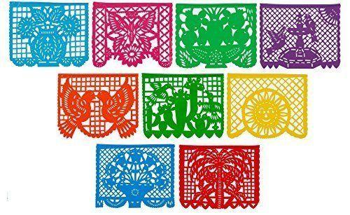 9 Multi-Colored Mexicano Large Plastic Papel Picado Banner Mexican Party Decor 1