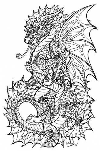 Раскраска дракон антистресс дракон Рисунки для